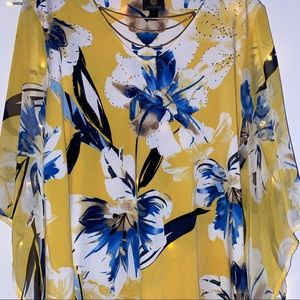 Blue and yellow floral blouse